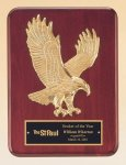 Rosewood Piano Finish Plaque with Gold Eagle Casting Wood Cast Awards